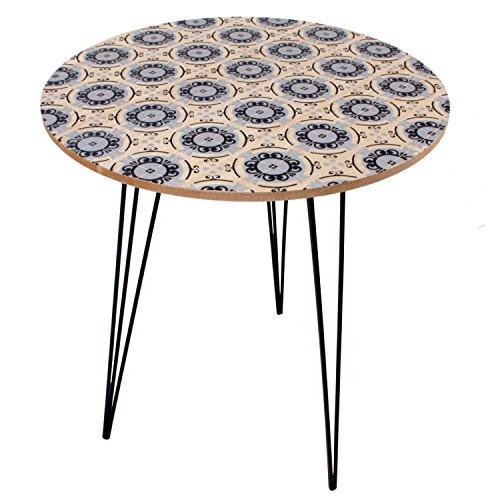 Beistelltisch Nachttisch Designtisch Wohnzimmertisch Retro Blumendruck Ø 40 cm