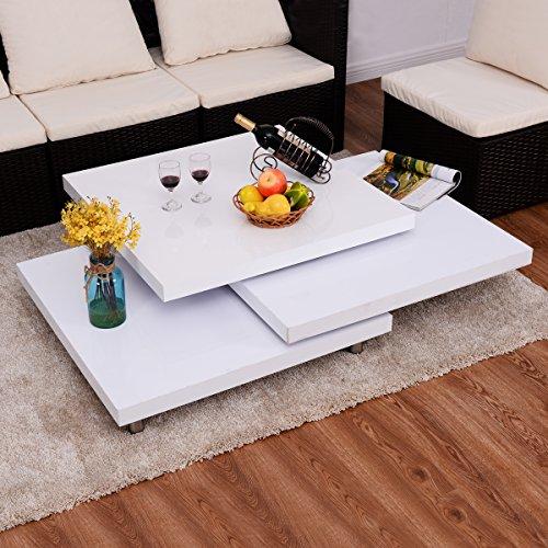 Costway couchtisch wohnzimmertisch salontisch sofatisch for Designer couchtisch drehbar