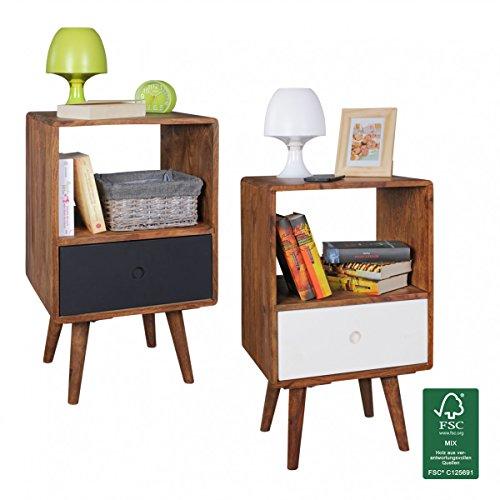 finebuy retro nachtkonsole sheesham holz nachttisch mit. Black Bedroom Furniture Sets. Home Design Ideas