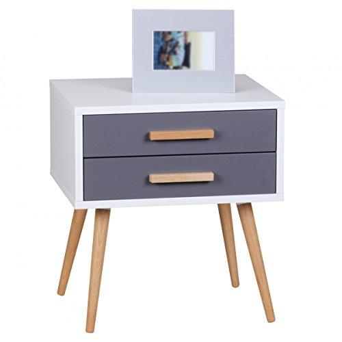 FineBuy Retro Nachttisch Weiß Grau mit 2 Schubladen - Füße Eiche FB40031