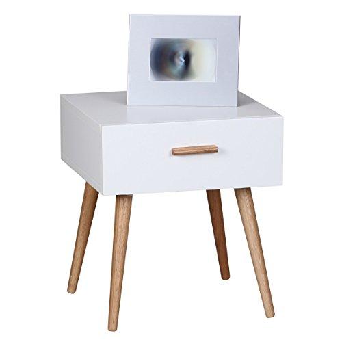 FineBuy Retro Nachttisch Weiß Matt mit Schublade - Füße Eiche FB40049