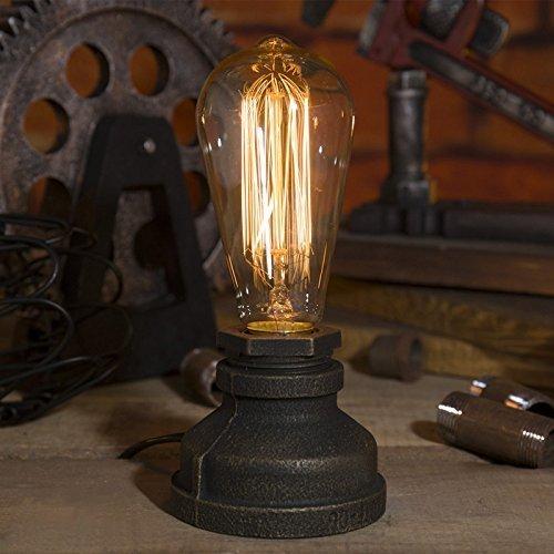 Injuicy Beleuchtung Loft Vintage Metall E27 Edison Eisen Basis Wasser Rohr Schreibtischlampen Antiken Retro Steampunk Tischlampe Schreibtisch Licht Tisch Glühbirnen für Café Bar Balkon Nachttisch Dekoriert