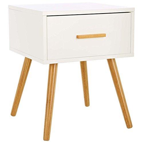 LOMOS® No.4 Beistellschrank aus Holz in weiß mit einer Schublade im modernen Retro-Design
