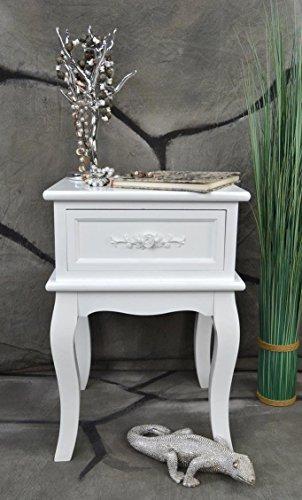 Livitat® Nachttisch Nachtschrank Nachtkonsole Nachschränckchen Nachtkommode Weiß barock