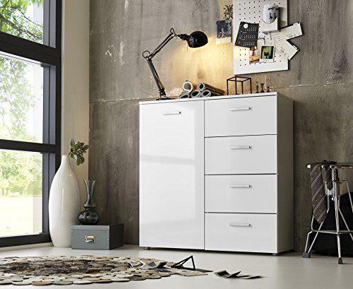 Modell 2017 Schubladen Kommode Sideboard Anrichte MARBELLA in Hochglanz Weiß - Made in Germany - Höhe 91cm, Breite 88cm, Tiefe 32cm