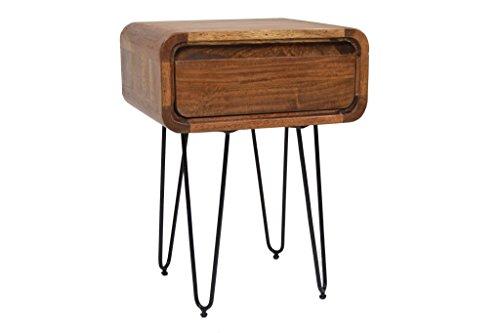 Nachttisch Beistelltisch Retro Easy Massivholz Haarnadelbeine