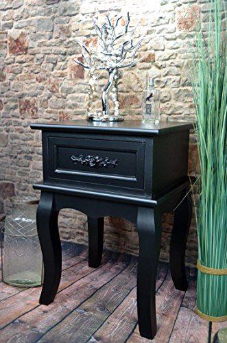 Nachttisch Nachtschrank Nachtkonsole Nachschränckchen Nachtkommode Schwarz barock LV4030