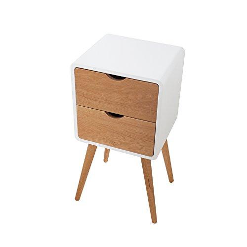 Retro Beistelltisch SCANDINAVIA weiß Eiche Nachttisch mit 2 Schubladen Holztisch Kommode