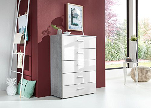 Schubladen Kommode Sideboard MARBELLA in Beton mit Hochglanz weißen Fronten - Betonoptik Höhe 91 Tiefe 32 cm Made in Germany