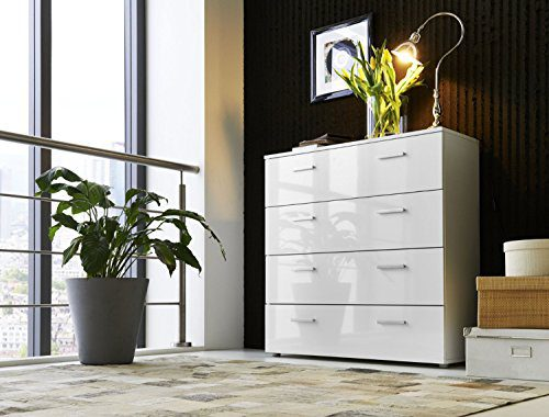 Schubladen Kommode Sideboard MARBELLA in Hochglanz Weiß - Made in Germany - Höhe 91cm, Breite 88cm, Tiefe 32cm