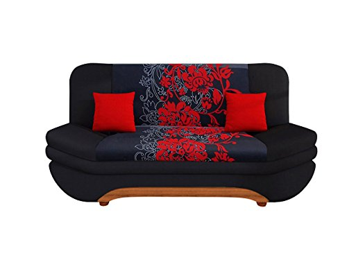 sofa weronika sving mit bettkasten und schlaffunktion bettsofa mit blumenmuster couch vom. Black Bedroom Furniture Sets. Home Design Ideas