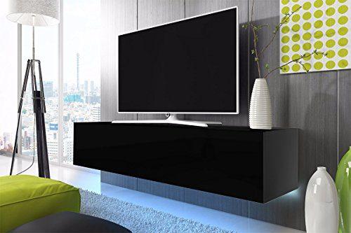 TV Schrank Lowboard Hängeboard SIMPLE mit LED Blau