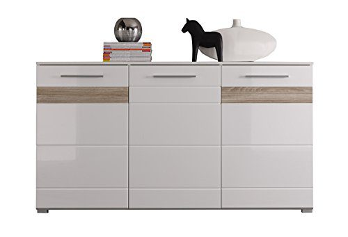 trendteam MZ Sideboard Wohnzimmerschrank | Weiß Hochglanz | Absetzungen Eiche sägerau hell | 160 x 88 cm