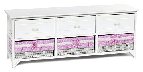 ts ideen landhaus kommode schrank wei sideboard mit 3 schubladen und 3 k rben bezug in pink neu. Black Bedroom Furniture Sets. Home Design Ideas