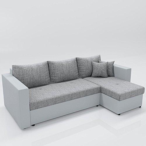 ecksofa mit schlaffunktion grau wei stellma 224 x 144. Black Bedroom Furniture Sets. Home Design Ideas