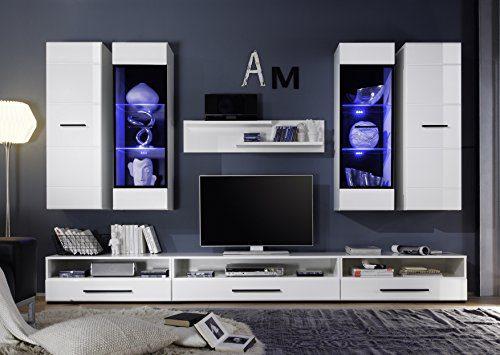 BGB1 Attenzione Wohnwand 8-teilig, Holzdekor, weiß hochglanz mit rillen, 300 x 190 x 45 cm