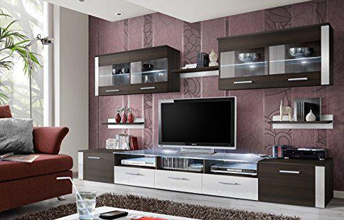 """BMF """"Zoom"""" Modern Hochglanz Wohnzimmer/Schlafzimmer/Studio flach–Wohnwand–mit Unterschrank–LED-Glas-Einlegeböden–nur aus BMF.–matt Körper/Hochglanz Fronten"""