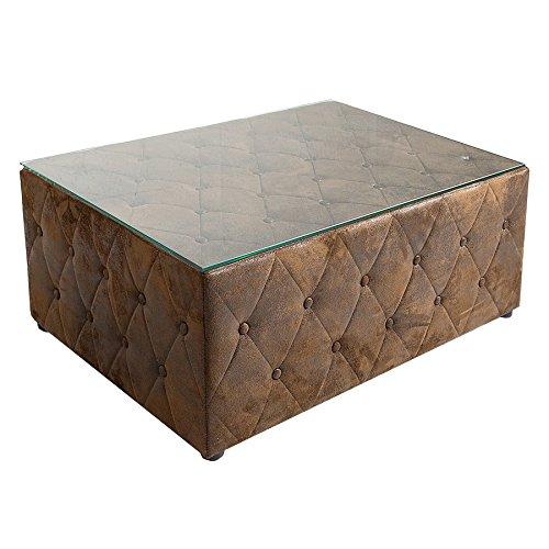 design chesterfield couchtisch 100 cm braun im antik look mit glasplatte tisch fu hocker hocker. Black Bedroom Furniture Sets. Home Design Ideas