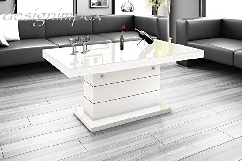 Design couchtisch h 333 wei hochglanz h henverstellbar for Design couchtisch monobloc xl