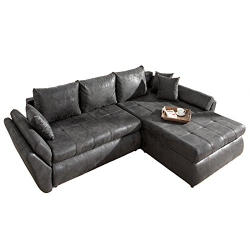 roller ecksofa grau liegefunktion staukasten kissen m bel24. Black Bedroom Furniture Sets. Home Design Ideas