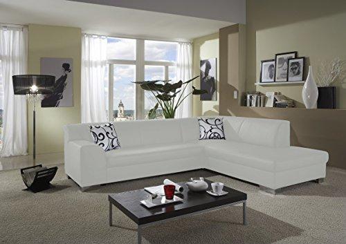 Dreams4home polstersofa ecksofa sol wei kunstleder for Wohnzimmer couch xxl