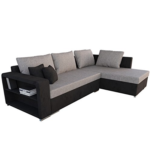 ecksofa clovis moderne eckcouch mit schlaffunktion und bettkasten ottomane universal couch l. Black Bedroom Furniture Sets. Home Design Ideas