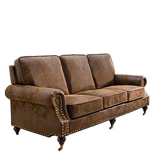 Edles Chesterfield Sofa HAVANNA CLUB braun 3-Sitzer mit Rädern Couch