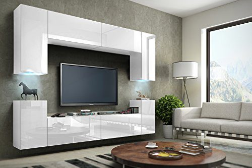 FUTURE 1 Wohnwand Anbauwand Schrankwand Möbel Wand TV-Ständer Wohnzimmer Hochglanz Schwarz / Weiß Beleuchtung LED RGB