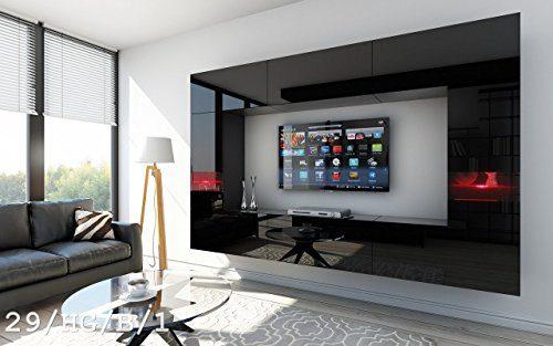 FUTURE 29 Wohnwand Anbauwand Wand Schrank TV-Schrank Wohnzimmerschrank Wohnzimmer Hochglanz Weiß Schwarz LED RGB Beleuchtung