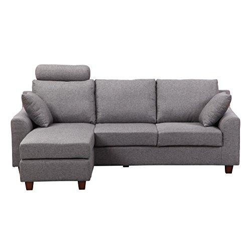 homcom sofagarnitur couch ecksofa garnitur stoffsofa sofa lounge ottomane leinen grau m bel24. Black Bedroom Furniture Sets. Home Design Ideas