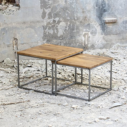original bestloft 2er set couchtisch eiche metall beistelltisch industiedesign loft vintage. Black Bedroom Furniture Sets. Home Design Ideas