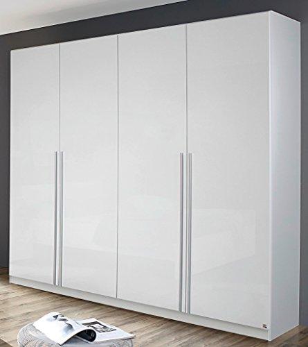rauch kleiderschrank 4 t rig mit stangengriffen front hochglanz wei breite 181 cm. Black Bedroom Furniture Sets. Home Design Ideas