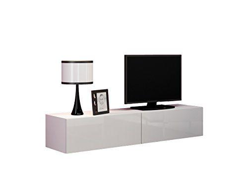 TV Schrank Hugo 160, Hängeschrank, Fernsehschrank, TV Lowboard mit Grifflose Öffnen, Hochglanz Matt Wohnwand