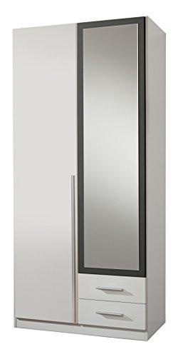 wimex 153210 kleiderschrank 2 t rig mit zwei schubk sten und einer spiegelt r korpus 90 x 198. Black Bedroom Furniture Sets. Home Design Ideas