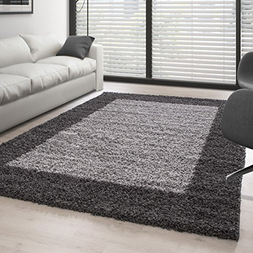 hochflor langflor shaggy designer teppich 2 farbig grau hellgrau 100 200 cm m bel24. Black Bedroom Furniture Sets. Home Design Ideas
