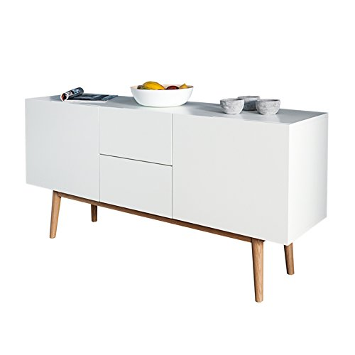 design sideboard lisboa wei 150cm mit eiche f en kommode. Black Bedroom Furniture Sets. Home Design Ideas