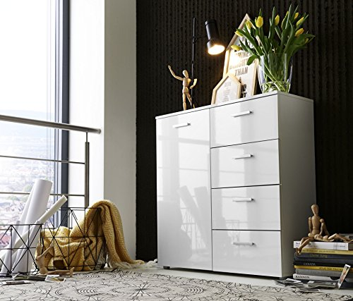 schubladen kommode sideboard anrichte marbella in hochglanz wei made in germany direkt vom. Black Bedroom Furniture Sets. Home Design Ideas