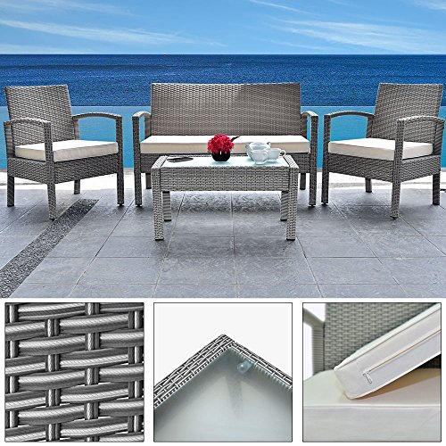 4 1 polyrattan gartenm bel set terrasse wintergarten balkon set wetterbest ndiges aluminium. Black Bedroom Furniture Sets. Home Design Ideas