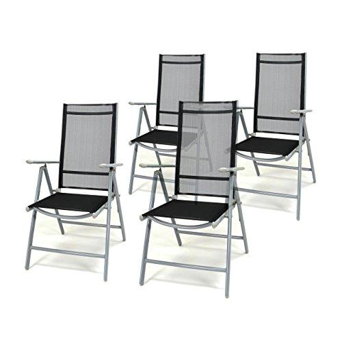 4er set klappstuhl schwarz aluminium 7 fach verstellbar gartenstuhl hochlehner mit armlehne. Black Bedroom Furniture Sets. Home Design Ideas