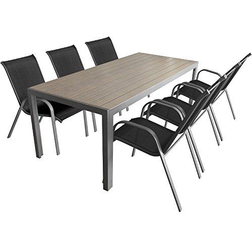 7 teiliges gartenm bel set aluminium polywood gartentisch 205x90cm stapelbare. Black Bedroom Furniture Sets. Home Design Ideas