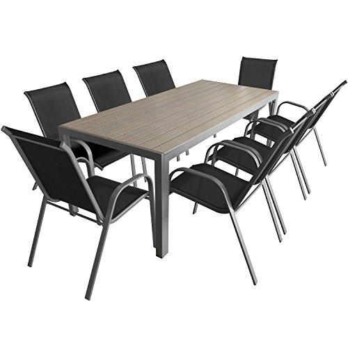 9 teiliges gartenm bel set aluminium polywood gartentisch 205x90cm stapelbare. Black Bedroom Furniture Sets. Home Design Ideas