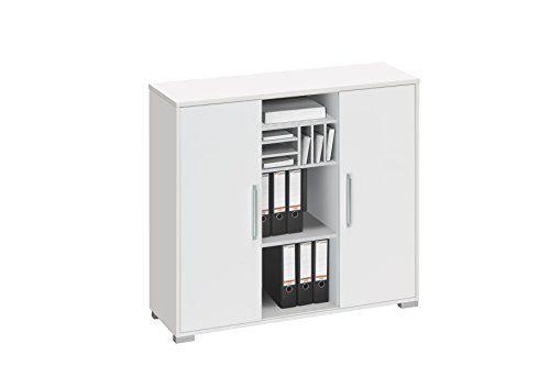 Aktenregal Büroschrank MAJA System Sideboard in Icy Weiß - Weiß Hochglanz 121,1x109,7x40cm