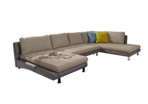 cavadore wohnlandschaft loungines sofa in u form mit bett und stauraum im jungen und modernen. Black Bedroom Furniture Sets. Home Design Ideas