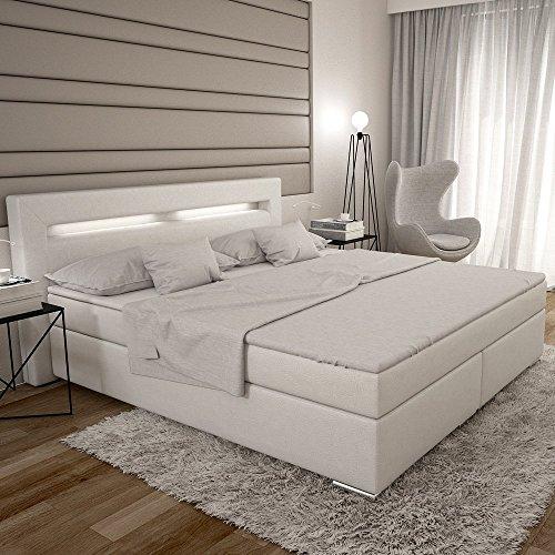 dalian boxspringbett 180x200 cm wei es polster bett in leder optik mit integrierter led. Black Bedroom Furniture Sets. Home Design Ideas