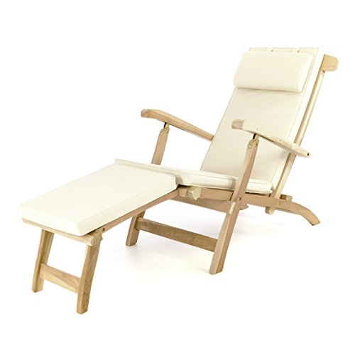 divero liegestuhl deckchair florentine sonnenliege steamer chair mit auflage natur creme m bel24. Black Bedroom Furniture Sets. Home Design Ideas