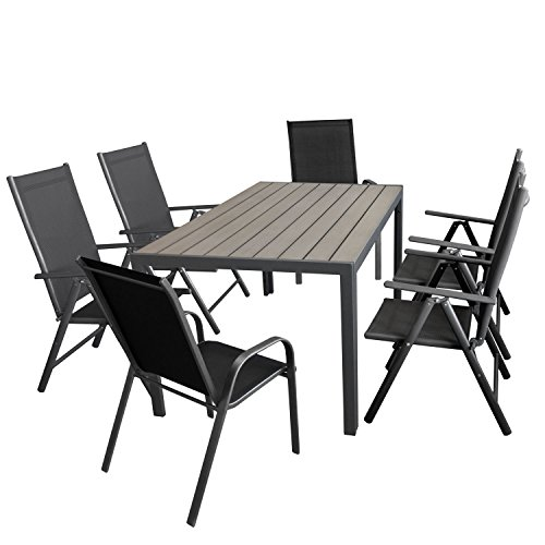 gartenm bel set aluminiumtisch mit grauer polywood tischplatte 150x90cm 4x verstellbare alu. Black Bedroom Furniture Sets. Home Design Ideas