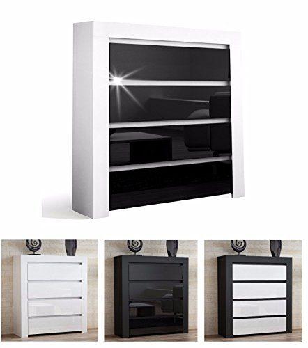 KOMMODE SCHRANK SIDEBOARD HOCHGLANZ mit 4 Schubladen 103 x 93,5 x 35 cm Anrichte, Mehrzweckschrank, Schubladenschrank, Highboard, Wohnzimmer