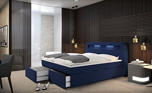 mallira boxspringbett 180x200 cm blaues polster bett in stoff mit integrierter led beleuchtung. Black Bedroom Furniture Sets. Home Design Ideas