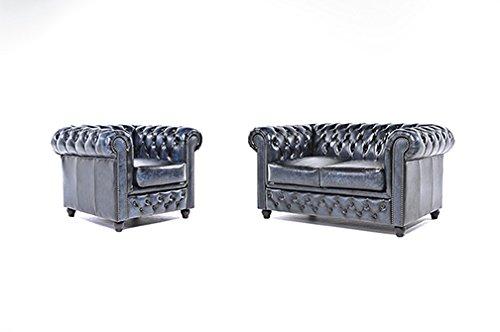 original chesterfield sofa und sessel 1 2 sitzer vollst ndig handgewaschenes leder antik. Black Bedroom Furniture Sets. Home Design Ideas