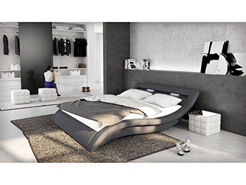 polster bett 180x200 cm grau aus stoff mit led beleuchtung. Black Bedroom Furniture Sets. Home Design Ideas